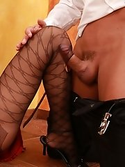 Blonde in neat pantyhose plays with dildo and guy�s huge-sized throbbing prick in heat