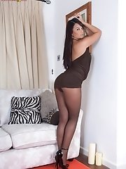 Lovely Sash strips and frigs herself in brown sheer pantyhose