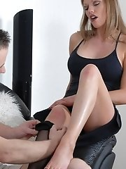 Nothing turns Holly on more than having her pretty feet sucked and licked. Luckily for her, our man was ready for her and started right away licking h