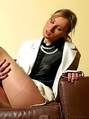 Smutty business lady shows all in sheer pantyhose on sexy legs!